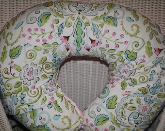 Nursing Pillow Cover- Love Bird Damask and Minky Boppy Cover