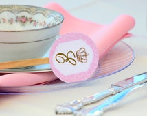 ROYAL TEA Party - Cupcake Toppers &  Favor Tags Printables- Crown Party - Girl Birthday - Pink -Baby Shower - Bridal Shower- Princess Party