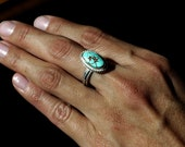 SOLD - Sterling Silver Ring with No. 8 Turquoise (SIZE 6)