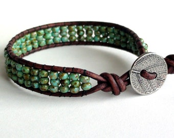 Turquoise Green Leather Bracelet