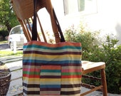 Colorful Striped Tote Bag / Grocery Bag / Carry All Bag