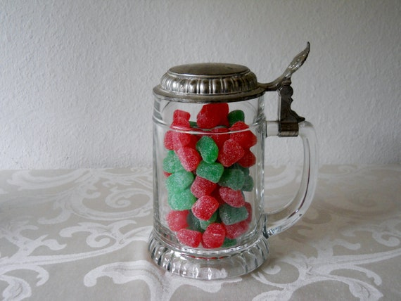 Vintage Clear Glass Beer Stein with Lid, West Germany