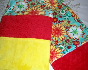 Aqua, Yellow, Red, Multiple Greens & White Daisies Minky Baby/Toddler Blanket