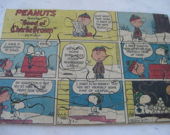 Vintage WOODEN Peanuts Comic Strip Puzzle