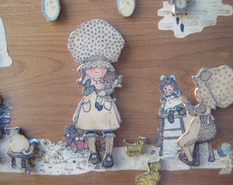 Vintage Holly Hobbie 3D Wooden Wall Hanging