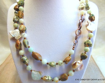 Long necklace, green and brown, amazonite, rhyolite, copper crystals, mother of pearl and copper clasp