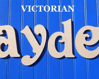"""Wooden Wall Letters - Unpainted - 6"""" Size - Victorian plus Various other Fonts - Gifts and Decor for Nursery - Home - Playrooms - Dorms"""