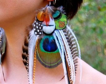 WOODLAND FAE Peacock Feather Earrings