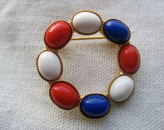 Vintage Red, White & Blue Circle Brooch