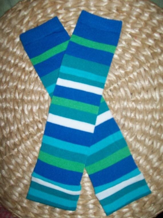 Baby Boy Leg Warmers  Blue Green White Stripes