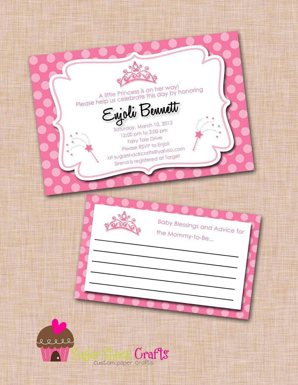 printable princess baby shower invitation and advice card