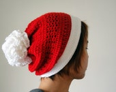 Christmas Hat, Santa Hat, Hand Crocheted Hat, Pom Pom Hat, Unique Flower Pom, Winter Accessories, Holiday Fashion, Gift Ideas