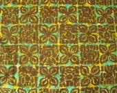 Vintage Upholstery Fabric yard- Green, Brown, Yellow-screen-printed canvas