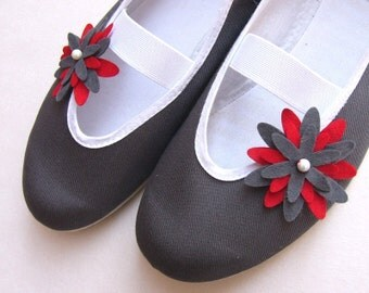 dahlia - red&grey / grey summer red fashion vegan trends shoes ballet flat gift her girl teen comfortable fashion cozy flowers flower
