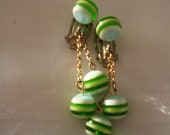 Vintage Green Bead Clip on Earrings
