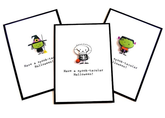 Halloween Cards (Set of 3) 'Have a Spook-tacular Halloween' - Handmade Halloween Greeting Cards