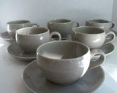 Vintage California Pottery - Cups and Saucers Set of Six Grey California Modern by Santa Anita Pottery