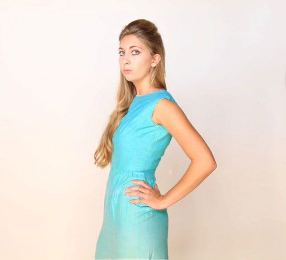 sale . . . Gorgeous 1960s silk Aqua Vintage Dress Wiggle Dress