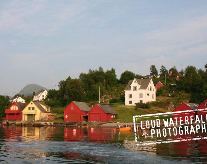 Norwegian Shoreline, Summer Cottages on the North Sea, Cove, International Travel, 8x12 Fine Art Photograph