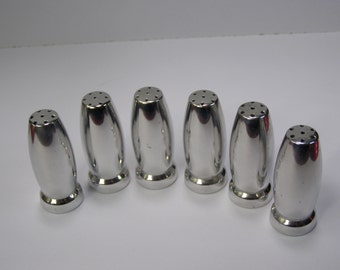 6 Stainless Steel 2 inch Salt and Pepper Shakers MCM Satin Lite