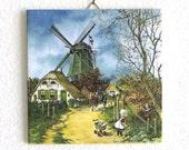 Vintage Dutch Tile by Royal Mosa of Holland signed J.V.C. Hunnik - Num 196
