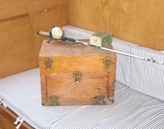 Vintage Primitive Wood Fishing Tackle Box