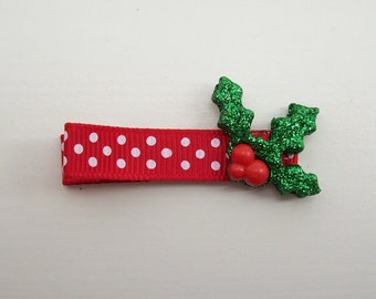 Girls Hair Accessories - Resin Hair Clips - One Dollar - Glitter Holly Resin Hair Clippies - Hair Clip Hair Clippie - One Dollar- Christmas
