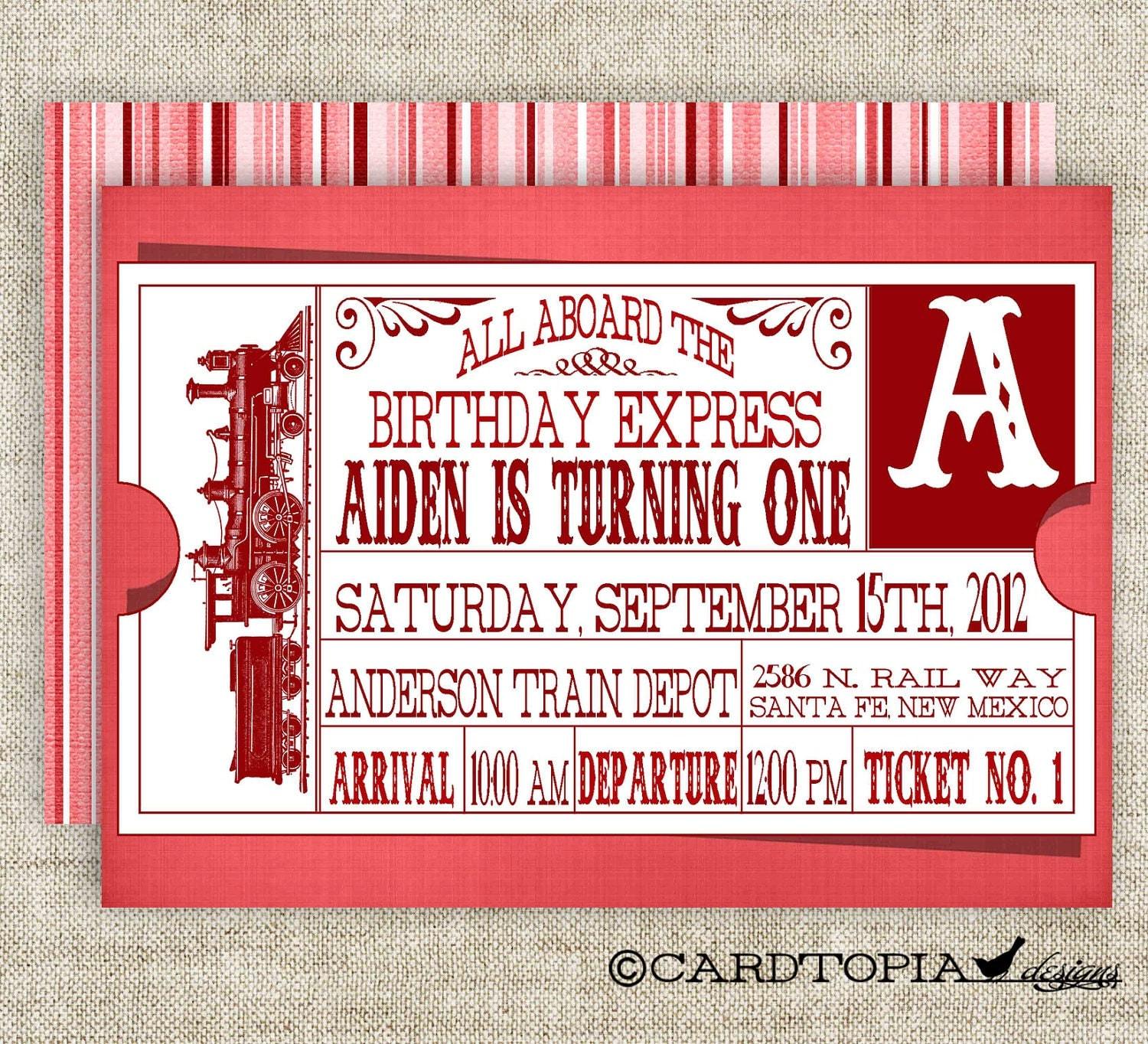 Train Ticket BIRTHDAY PARTY Invitations Vintage Retro Red Girl
