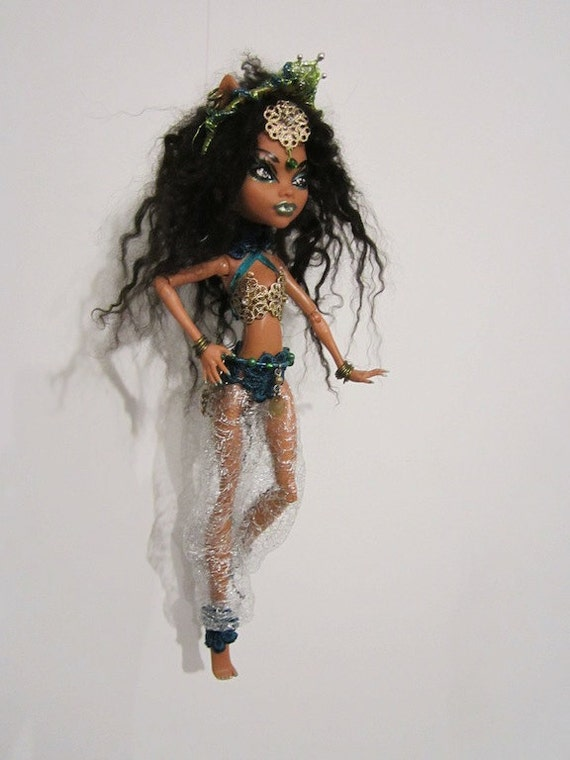 OOAK, One of a kind Monster High Doll Custom Repaint - Kali Nile - Temple cat/Belly dancer