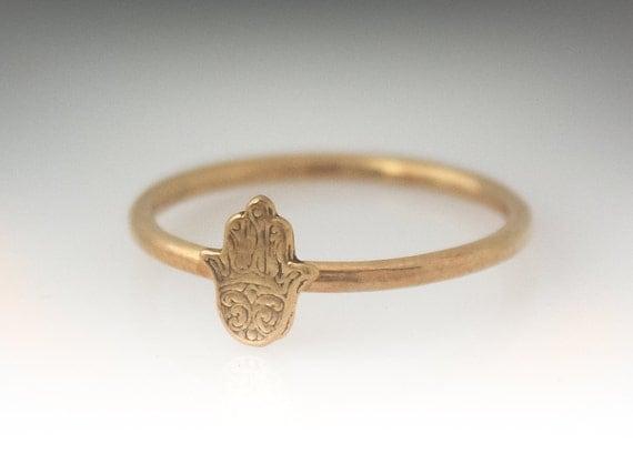 Gold HAMSA Ring - Hamsa Stackable Ring - 18K Gold Plated Sterling Silver Hamsa Ring