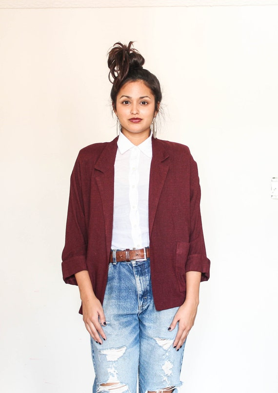 RESERVED fitted burgundy fall blazer s-m