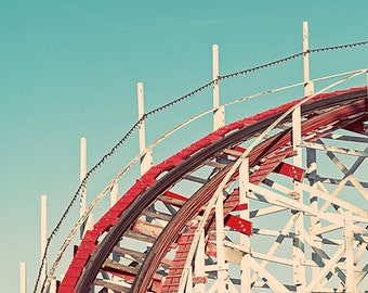 Fun Retro Santa Cruz Giant Dipper Rollercoaster Photograph, Aqua Blue Sky, Red White Roller Coaster Vintage Nursery Decor - Coast