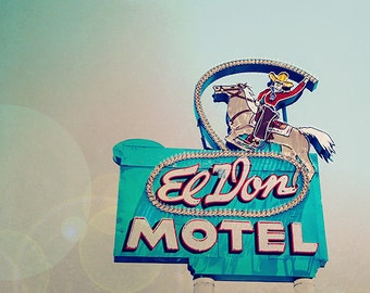 Route 66 Motel Neon Sign Print, Travel Photography, Summer Road Trip, Pastel Colors, Teal Aqua Blue, Vintage Sign Print - Yee-Haw