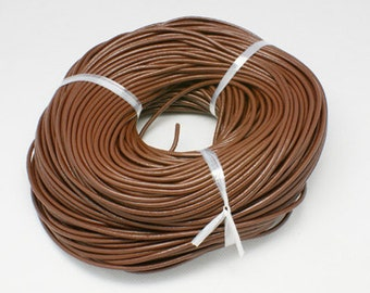 s00390 - 5 metres Round Cowhide Leather Cord, Leather Jewelry Cord, about 2mm in diameter, color: Peru