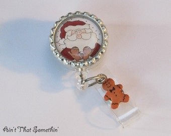 Santa and His Little Gingerbreads Retractable Badge Reel - Santa Badge Reel - Christmas Badge Clips - Stocking Stuffers - Fun ID Holder