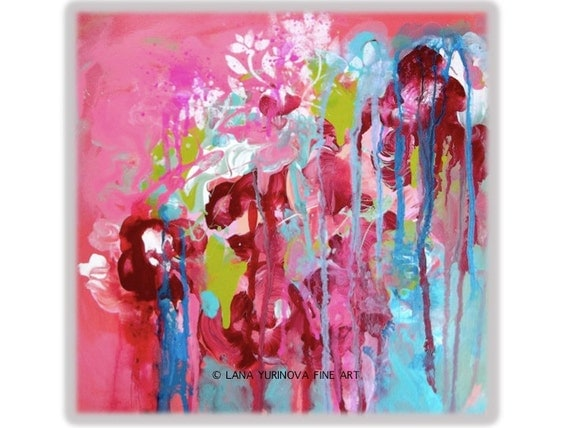 """Floral Abstract Painting 12"""" x 12"""" x 1.5"""" Original Contemporary Acrylic on Gallery Wrapped Canvas"""