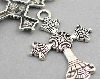 Cross Charms Antique Silver tone 2pcs base metal 35X51mm CM0305S