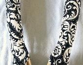 Black & Cream Fingerless Gloves Handmade Swirly Pattern Sophistocated And Girly Lolita