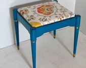 Turquoise Bench with Suzani Style Fabric Top