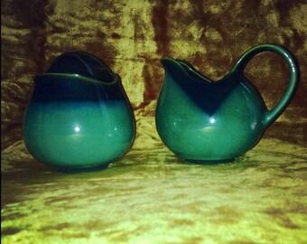 Vintage Jade Green Cream and Sugar Set