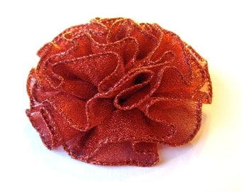Red Sparkle Pin or Hair Accessory - Sparkly Red Flower