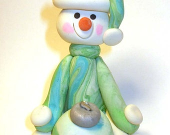 Polymer clay Christmas Ornament snowman in mint green sweater and hat with bulb, Polymer Clay  , 2017 keepsake