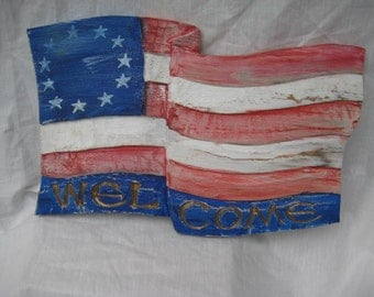 PATRIOTIC WELCOME FLAG