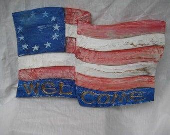 PATRIOTIC WELCOME FLAG