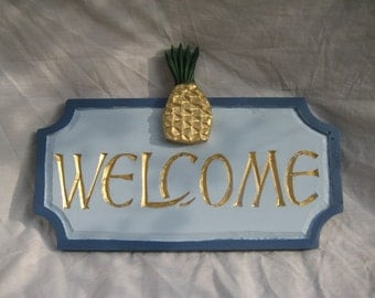Welcome with Pineapple Sign for indoors or outdoors