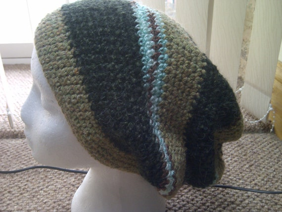 Tam Crochet Full  Slouch Tam Hat in Khaki and dark green - Handmade in Wales in the UK