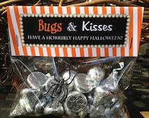 PRINTABLE, Customizable, Bugs and Kisses Halloween Favor Bags, Halloween Treat Bag