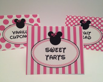 Pink and Black Minnie Food Tent Cards