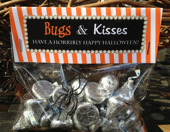 graphic about Bugs and Kisses Printable identified as Halloween Address Bag Toppers Sweet Insects And Kisses Foldable