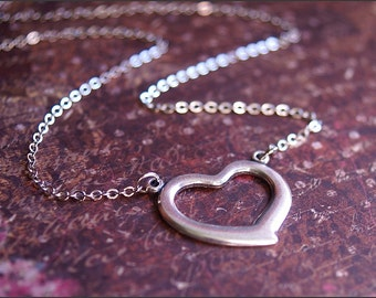 SILVER HEART Necklace Open Heart Pendant Necklace- CLASSIC Everyday Wear  I'm in Love by RevelleRoseJewelry